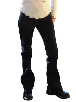 Pantalon finement côtelé noir
