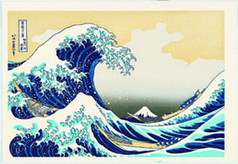 "The Great Wave off Kanagawa : Thirty six views of Mt. Fuji"" (wood block prints by Katsushika Hokusai)"
