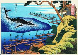 """""""Gotou Kujiratsuki : Ocean of Chie series"""" (wood block prints by Katsushika Hokusai))"""