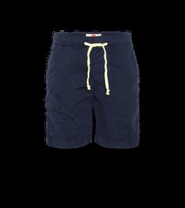Blaue Shorts von AO76mit elastischer Bund, Kordelzug und Seitentaschen