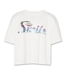 AO76 T-Shirt oversized smile in vitage white