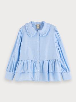 Scotch R´bell Bluse im Boxy Fit mit Rüschen hellblau mit Glitzerstreifen