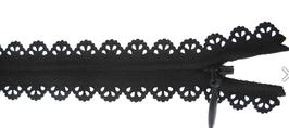 Reißverschluss in Spitzenoptik - Schwarz