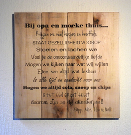 Bord in steigerhout, quote