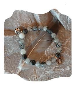 Bracelet Quartz tourmaline avec arbre en argent