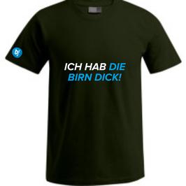 """Schwarzes Herrenshirt mit Aufdruck """"ICH HAB  DIE BIRN DICK!  """""""