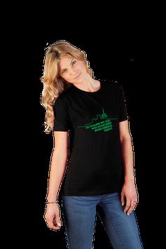 """schwarzes Damenshirt mit grünem Aufdruck """"Inselsberg"""""""
