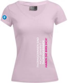 """Pinkfarbenes Damenshirt mit Aufdruck """"THÜRINGERINNEN SIND NICHT GENERVT – THÜRINGERINNEN HABEN DIE BIRN DICK! """""""