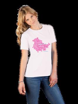 """Pinkfarbenes Damenshirt mit Aufdruck """"Thüringer Wortschätze"""""""