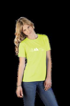 """Damenshirt lime mit  Aufdruck """"Zelt"""""""