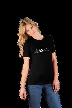 """Damenshirt schwarz mit  Aufdruck """"Zelt"""""""