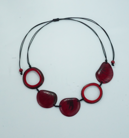 "Tagua-Kette ""Carolina"" rot, verstellbar / Tagua Necklace ""Carolina"" red, adjustable"