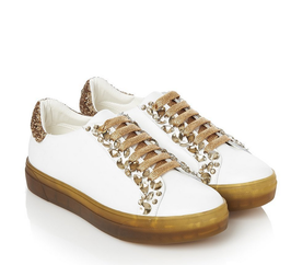 Luciano Barachini SNEAKERs Weiss sohle Braun /Gold Steine