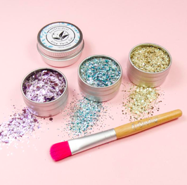 EcoStardust Euphoria Biodegradable Trio-Glitter, Balm, Brush Set