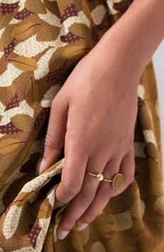 Bague en laiton doré à l'or fin et textile