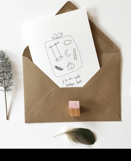 Carte postale double avec enveloppe kraft