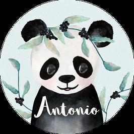 Panda Junge Aufkleber mit Name, Namensaufkleber