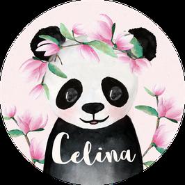 Panda Mädchen Aufkleber mit Name, Namensaufkleber