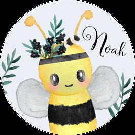 Biene Aufkleber mit Name, Namensaufkleber, Aufkleber Junge