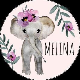 Elefant Aufkleber mit Name, Namensaufkleber, Aufkleber Mädchen