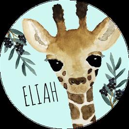 Giraffe Aufkleber mit Name, Namensaufkleber, Aufkleber Junge