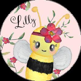 Biene Aufkleber mit Name, Namensaufkleber, Aufkleber Mädchen