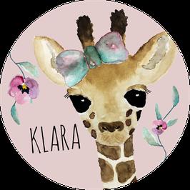 Giraffe Aufkleber mit Name, Namensaufkleber, Aufkleber Mädchen