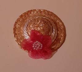 EF026 Strohhut rosa Dekoriert 4cm Durchmesser