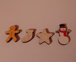 EF082 Holzteile 4 Stück für den Weihnachtsstand/Laden 3-4,5cmH