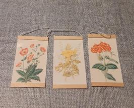 EF034 Wandtafel Blumen 3 STÜCK 3cm breit