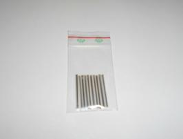 EF027 Stiftperlen aus Glas 30mm lang 10 STÜCK SILBER