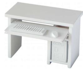 EF060 GK Computer Tisch WEISS, mit Tastatur, Maus und PC-Tower