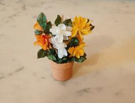 """EF014 Blumentopf 3cm mit Kletterpflanze gelb, weiss und orange """"Grüner Daumen"""" beide Seiten sehr schön"""