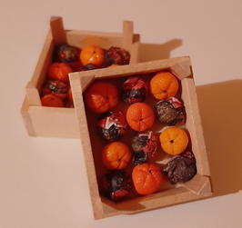 EF053 Mandarinen handgefertigt in Obstkiste 3,7x4,5cm
