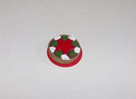 EF084 Weihnachtstorte auf roten Tortenteller 2,5cm