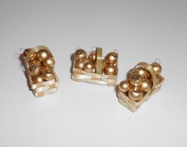 EF079 Spankorb, Spankörbchen 3cm mit Christbaumkugeln gold