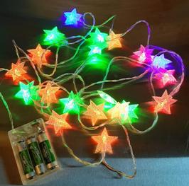 EF009 Lichterkette GROSS Sterne (4,5cm) Farbenspiel 3 Meter 20 LEDs