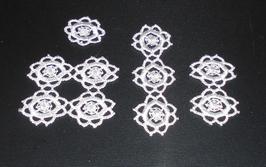 EF019 Deckchen Set weiss quadratisch 5x5 cm *** 8,5cm lang