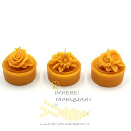 3 Teelichter Jumbo mit 3 verschiedenen Blumenmotiven
