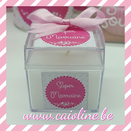 Bougie 5x5 cm super marraine