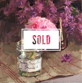 Ranunculus in bonne maman jar