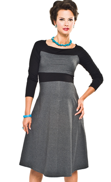 "Torelle Maternity Dress ""Nicole"" - Black & Grey"