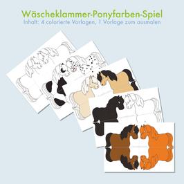 Datei Bastelvorlage Wäscheklammerspiel- Ponyfarben