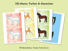 XXL Memo Pferdefarben & Abzeichen