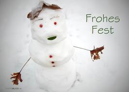 Postkarte Frohes Fest Schneemann