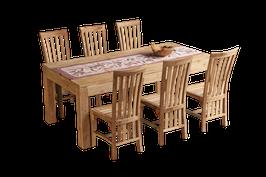 Esstisch, Teakholz, mit 6 Stühlen >>white wash