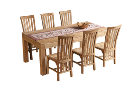 Dining Table Set with 6 chairs >> white wash