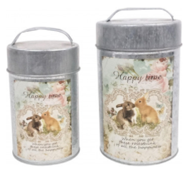 Cans zink konijn 'Happy Time' set