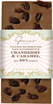 Vollmilch Schokolade mit Karamell & Cranberry