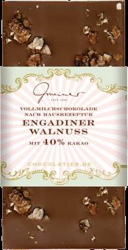 Vollmilch Schokolade mit Engadiner Walnüssen